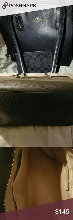 Coach signature purse PLEASE READ :: Black coach signature purse. NWOT excellent condition. Make reasonable offers, no low offers . WALLET IS NOT INCLUDED, AND IS POSTED AS A SEPERATE LISTING. Coach Bags Satchels