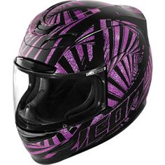 Icon Airmada Motorcycle Helmet.  Icon is one of the greats when it comes to motorcycle gear for women!  They have some of the coolest designs for women also!  Check out this Icon Airmada Spaztyk