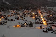 UNESCO World Heritage Sites - Villages of Shirakawa-gō and Gokayama aerial view / Tsuda