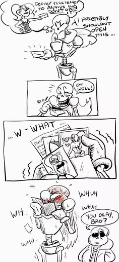 Papyrus opens the letter Undyne had him deliver to Alphys, Sans