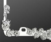 chrome rose car license plate frame
