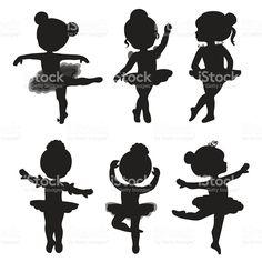 Set of silhouettes of little ballerinas – Kaufen Sie diese Illustration bei Shutterstock und finden Ballerina Kunst, Ballerina Birthday, Little Ballerina, Ballerina Silhouette, Girl Silhouette, Ballet Dancers, Ballerinas, Royalty Free Images, Diy And Crafts
