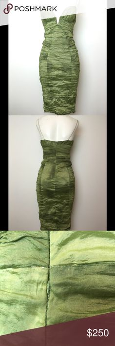 """Nicole Miller Collection Green Scrunch Dress 6 Good condition.  Green Dress.  Back Zipper entry.  Low Neckline.  There is a small defect in the zipper (photographed) it still zips up all the way, it just gets snagged there and you have to  zip slowly to allow it to pass through.  There straps are darker, not sure if there suppose to be like that or not (not the original owner of the dress) Wired at the neckline. Side length is 30.5"""" Nicole Miller Dresses"""