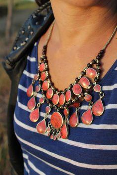 collar etnico piedras coral tribal nomada por azulcasinegro en Etsy