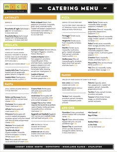 Mici Italian catering menu design by Watermark! #watermark #watermarkadvertising #menu #restaurantmenu #menudesign #catering #eventplanning #graphicdesign #cateringmenu #marketingdesign #marketing #advertising