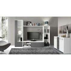 FINLANDEK Meuble TV mural PILVI 220cm blanc et gris - Achat / Vente meuble tv…