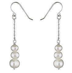 Sterling Silver Long Triple Freshwater Pearl Drop Earrings