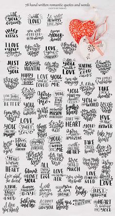 Quotes about love-Lettering Pack.I present to you a Quotes about love.Lettering set includes traditional romantic quotes and words. Calligraphy Quotes Doodles, Doodle Quotes, Calligraphy Handwriting, Hand Lettering Quotes, Handwriting Ideas, Valentines Lettering, Calligraphy Letters, Typography Quotes, Lettering Design