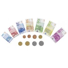Speelgeld  Uistekend te combineren met onze speelkassa's. Deze set bestaat uit 84 biljetten en 32 Euro munten.   Gemaakt van papier en plastic.