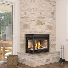 Image result for corner insert gas fireplace