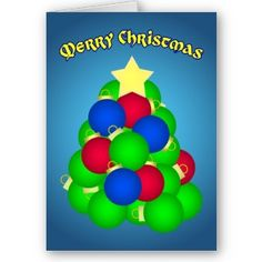 Merry Christmas Ornament Tree at Flamin Cat Designs on Zazzle