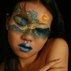 Starry Night Vincent van Gogh inspired - Hobbies paining body for kids and adult Face Paint Makeup, Eye Makeup Art, Sfx Makeup, Makeup Inspo, Makeup Inspiration, Vincent Van Gogh, Maquillage Halloween, Halloween Face Makeup, Date Night Makeup