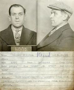 A mugshot of burglar William Bright.