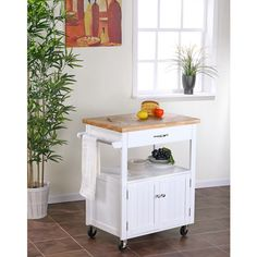 Kitchen Cart with Butcher Block Top White, Dining Room Cart, Kitchen Carts, Kitchen Butcher Blocks