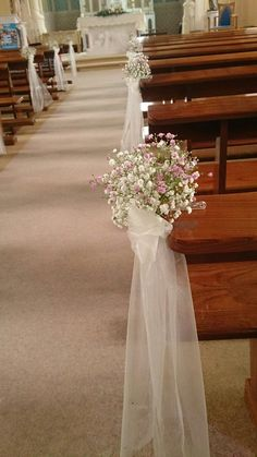 decoration eglise Baby's breath posies in pink and white with trailing organza sashes Wedding Church Aisle, Church Wedding Flowers, Wedding Pews, Wedding Chairs, Rustic Church Wedding, Wedding Pew Decorations, Church Aisle Decorations, Wedding Arrangements, Flower Arrangements