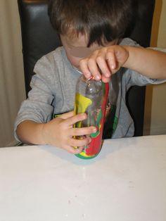 squirting paint inside bottle and rolling it around Preschool Art Projects, Preschool Art Activities, Indoor Activities, Crafts For Kids, Kid Art, Art For Kids, 4 Kids, Cool Kids, Art Centers