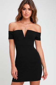 Sexy Black Dress - Off-the-Shoulder Dress - Black Bodycon Dress Hoco Dresses, Cute Dresses, Awesome Dresses, Mode Kpop, Designer Party Dresses, Black Dress Outfits, Cute Outfits, Marine Uniform, Blue And White Dress