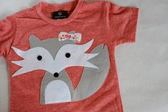 Felicity the shy fox.Applique tshirt