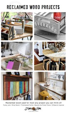 Reclaimed wood projects - beautiful features and a linkup on FunkyJunkInteriors.net