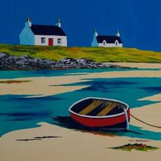 South Uist crofts and beached boat<br x />acrylic Irish Landscape, Landscape Art, Landscape Paintings, Watercolor Paintings, Unique Paintings, Original Paintings, Boat Drawing, American Realism, Sea Pictures