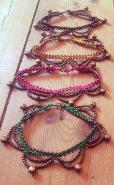 Indian anklet, gypsy anklet, Brass Bronze anklet, Macrame anklet, Boho anklet, MANY COLORS, hippy ankle bracelet