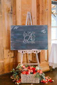 Unique wedding guestbook alternative idea - guests signed a personalized chalkboard sign {Riverland Studios}