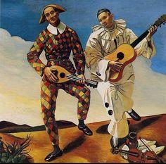 Andre Derain Harlequin and Pierrot oil on canvas, Musée de l'Orangerie, Paris Andre Derain, Raoul Dufy, Alberto Giacometti, Harlem Renaissance, Italian Renaissance, Henri Matisse, Impressionism Art, Impressionist, Clowns