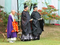 A Buddhist monk and others at a Kyokusui No En (a heian era poetry party)