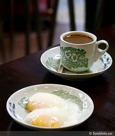 Kopi O with soft boiled eggs