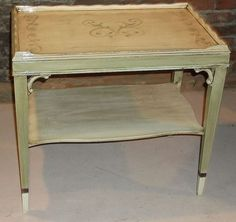 my littlerepainted and stenciled green side table, painted furniture