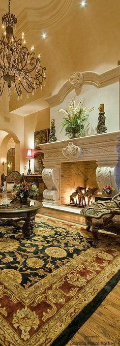 looking for the adorable sunken living room ideas ? Find out design, pictures, decoration, and paint colors ideas. Luxury Mediterranean Homes, Tuscan Design, Mediterranean Home Decor, Mediterranean Architecture, Unique Architecture, Classical Architecture, Tuscan Decorating, Interior Decorating, Interior Design
