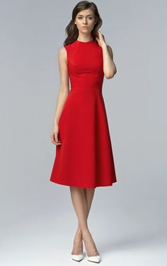 Red sleeveless flared midi dress with high neckline. Click to shop