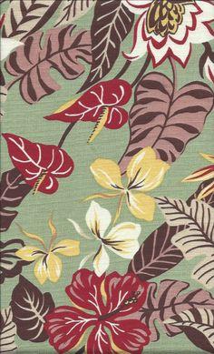 70hui - Sea Foam Tropical Hawaiian Vintage Atomic, abstract, Anthuriums Flowers on a cotton Hawaiian non-upholstery barkcloth fabric.