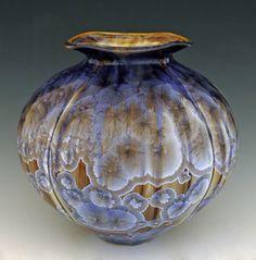 Bill Campbell ~ Cambridge Springs, Pennsylvania Slip-cast porcelain vase with crystal glaze. Bill Campbell Pottery, Bottle Vase, Bottles, American Crafts, Ceramic Artists, Vases Decor, China Porcelain, Art Techniques, Pottery Art