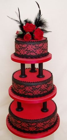 Black lace wedding cake from Wow Cakes. @Ann Refford, this is *you.*