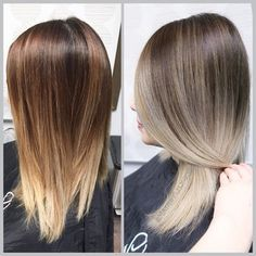 Corrected her brassy color to an ash brown base with ash blond ends . Haircut by Anh COtran. | Yelp