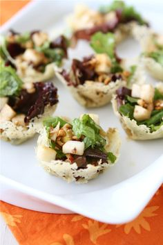 Mini Gorgonzola Cheese Cups with Pear & Hazelnut Green Salad