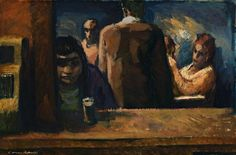 Noel Counihan 'A Bar in Fitzroy', 1962-63 61.0 x 92.0 cm oil on composition board