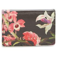 Women's Ted Baker London Lost Gardens Leather Coin Purse (£60) ❤ liked on Polyvore featuring bags, wallets, black, coin purse wallets, credit card holder wallet, leather wallets, coin pouch and leather coin pouch