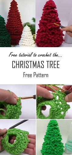 Crochet A Christmas Tree Free Pattern - 19 holiday Crafts crochet ideas Christmas Tree Pattern, Christmas Crochet Patterns, Crochet Christmas Ornaments, Crochet Gifts, Free Crochet, Crochet Free Patterns, Crochet Tree, Crochet Dolls, Xmax
