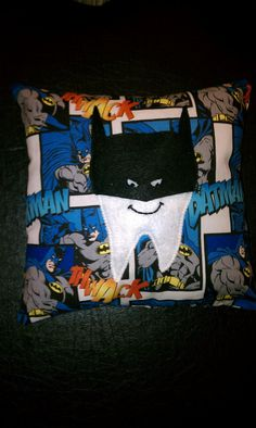 Items similar to Batman Tooth Fairy Pillow on Etsy Tooth Pillow, Tooth Fairy Pillow, Sewing Crafts, Sewing Projects, Superhero Room, Diy Pillows, Deco Mesh Wreaths, Sewing For Kids, Family Gifts
