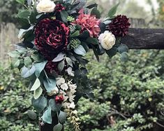 2 piece wedding arch arrangement made from top quality artificial flowers and eucalyptus. Flowers can be customized to any color. Wooden Wedding Arches, Fall Wedding Arches, Wedding Arch Rustic, Flower Girl Bouquet, Flower Bouquet Wedding, Wedding Trellis, Wedding Reception Planning, Arch Flowers, Ceremony Arch