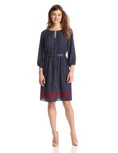 Anne Klein Women's Polka Dot Peasant Dress « Dress Adds Everyday