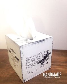 shabby chic tissue box cover/ kleenex box by HandmadeStylishHome