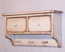 Handmade Primitive Shelf with 2 Drawers - Color Choice - FREE SHIPPING