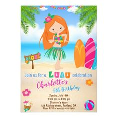 Luau birthday invitation Hawaiian beach party girl   makeup for redhead, alex tanner redhead, irish redhead #redheadsforlife #redheadproblems #redheadsofig, 4th of july party Hawaiian Invitations, Luau Birthday Invitations, Beach Party Invitations, Pink Invitations, Custom Invitations, Invite, Tropical Party, Kids Party Supplies, 1st Birthdays