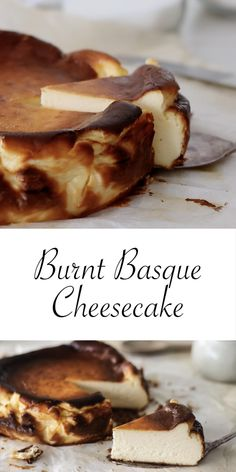 Burnt Basque Cheesecake is the easiest cheesecake you'll ever make. It doesn't require a crust, a water bath or a slow and even temperature. This cheesecake is hit with high heat to toast and caram… Mini Desserts, Just Desserts, Delicious Desserts, Yummy Food, Health Desserts, Easy Cheesecake Recipes, Dessert Recipes, Cheesecake Cake, Spanish Cheesecake Recipe