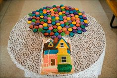 best wedding cake ever. house from Up. Up house and cupcakes as balloons.