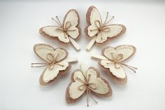 Set of 5 butterfly wings clothes pins rustic wedding burlap decor country wedding burlap ornaments rustic home decor Burlap Wedding Decorations, Wedding Centerpieces Mason Jars, Wedding Burlap, Rustic Wedding, Burlap Rosettes, Burlap Flowers, Fabric Flowers, Rose Flowers, Burlap Ornaments