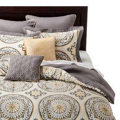 Venice Medallion Print Comforter Set 8 Piece - Gray&Yellow : Target